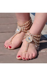 Retro Exaggerated Yoga Dance Alloy Diamond Water Droplets Gem Anklet