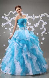 A-Line Ruffles Crystal Floral Strapless Chic Ball Gown