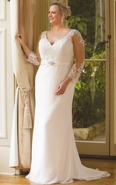 demure Illusion Long Sleeve plus size Gown With Sweep Train And Deep-V Back