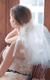 European Style Short Bridal Veil with Flowers