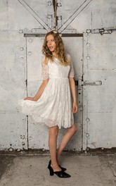 Short Short Sleeves Wedding Lace French A-Line Dress