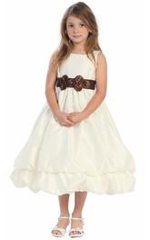 Sleeveless Bowknot 3-4-Length Flower Girl Dress