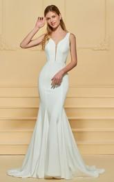 Elegant Chiffon Plunging Sleeveless Deep-V Back Dress