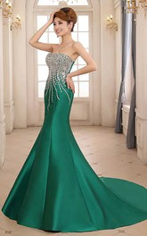 Mermaid Sweep Train Strapless Sleeveless Satin Dress with Beading