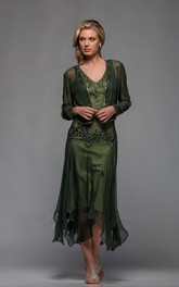 Casual Sheath Chiffon V-neck Long Sleeve Mother of The Bride Dress with beadings