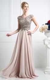 Column Pleated Jeweled Full-Length V-Neck Chiffon Cap-Sleeve Low-V-Back Dress