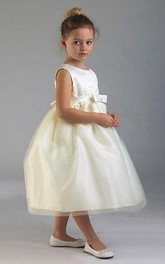 Tulle Appliqued Tea-Length Layered Flower Girl Dress