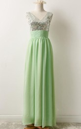 Plunged Floor-length Sleeveless Dress With Sequined top