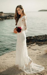 Ethereal Sheath Bat Sleeve Floor Length Wedding Dress with Low-V Back