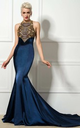 Mermaid Court Train High Neck Sleeveless Satin Dress with Beading