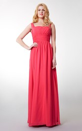 Floor-Length Bandage Gathered Bateaud-Neck-Waist Gown