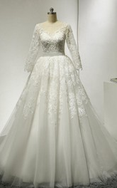 Long-Sleeve Low-V Back Tulle Lace Bateau-Neckline Dress