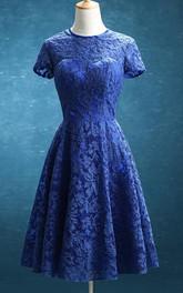 Jewel-Neck Short Sleeve short mini Dress With Lace Appliques