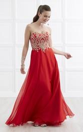 Sweetheart Sleeveless Chiffon Prom Dress With Beading And Corset Back