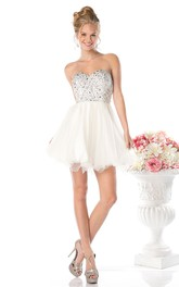 A-Line Ruffled Jeweled Short Mini Sleeveless Sweetheart Backless Dress
