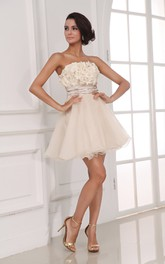 A-Line-Inspire Floral Champagne Chic Dress