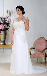 n Sleeveless Sheath long plus size wedding dress With Crystal Detailing
