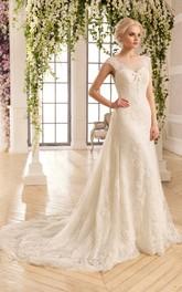 Cap-Sleeve Appliqued Pleats Long A-Line Lace Dress