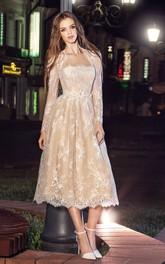 A-Line Pleats Appliqued Tea-Length Strapless Lace Long-Sleeve Illusion Dress