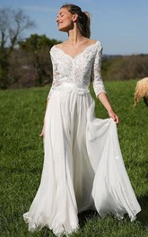 Elegant 3/4 Length Sleeve A Line V-neck Chiffon Lace Floor-length Wedding Dress