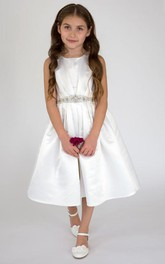 Satin Layers Pleated Tea-Length Flower Girl Dress