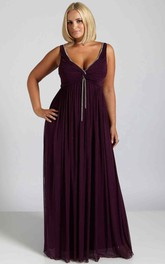 Plunged Sleeveless Chiffon Empire Bridesmaid Dress With Beading And central Ruching