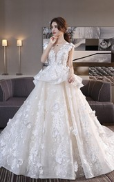 3D Floral Appliqued Princess Cap Sleeve Lace Ballgown Wedding Dress With Peplum Skirt And Lace-up