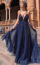 Spaghetti V-neck Sequins Sleeveless Floor-length Brush Train Backless Prom Dress