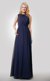 Floor-Length Keyhole Back Chiffon Sleeveless Dress