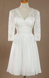 Plunged Long Sleeve 3-4-sleeve short Wedding Dress With Ruched waist