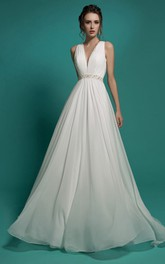 Sleeveless Rhinestone Chiffon Ruched Floor-Length A-Line Illusion Dress