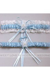 Western Style Flowers Lace Bow Elastic Lace Bridal Garter Within 16-23inch