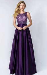 Scoop-neck Sleeveless Satin A-line Prom Dress With Beading And Low-V Back