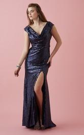 V-neck Sequined Split-Front prom Dress