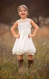 Sleeveless Lace Toddler Ivory Boho Ruffled Flower Girl Dress