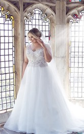 Ball Gown V-neck Sleeveless Beaded plus size Wedding Dress With Court Train