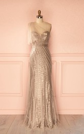 Tulle Sheath One-Shoulder Luxurious Sequined Dress