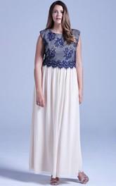 Chiffon Lace Top Cap-Sleeved Long Fabulous Gown