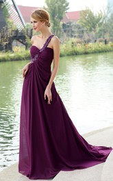 Backless Floral Strap Chiffon Ethereal Floor-Length Dress