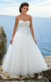 A-line Strapless Tulle Ankle-length Dress With Flower And Corset Back