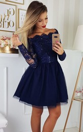 Scalloped Strapless Lace Tulle Long Sleeve Short A Line Homecoming Dress with Sequins