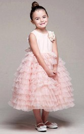 Tulle Layered 3-4-Length Satin Flower Girl Dress