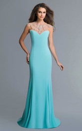 Column Jeweled Floor-Length Jersey Illusion Dress