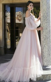 Charming Tulle 3/4 Poet Sleeves Off-shoulder Sweetheart Wedding Dress