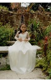 Long Satin Sash Sweetheart-Neckline Long-Sleeve Tulle Dress