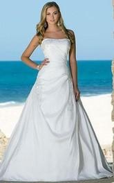 Sleeveless For Brides Bridal Strapless A-Line Beach Dress