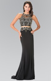 2-Piece Beaded Column Floor-Length Sleeveless Jewel-Neck Jersey Dress
