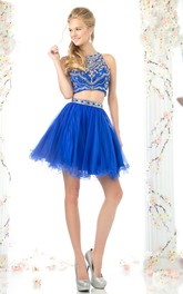 A-Line Illusion Beaded Ruffled Short Mini Sleeveless Jewel-Neck Tulle Dress