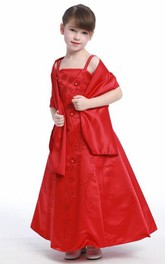 Sequined Strapped Ankle-Length Floral Flower Girl Dress