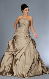 Sweetheart Criss-cross Pick Up Taffeta Ball Gown With Beading And Corset Back
